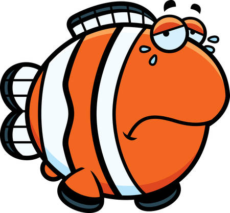 frowning: A cartoon illustration of a clownfish sad and crying.