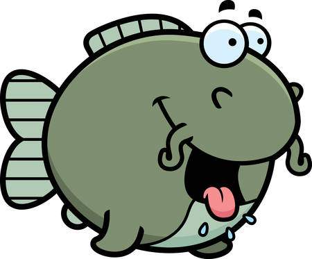 A cartoon illustration of a catfish looking hungry.