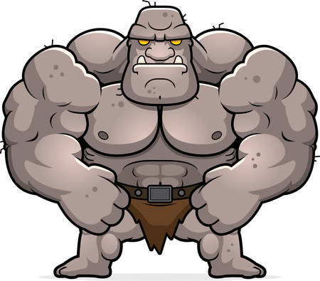 ogre: A cartoon illustration of an ogre flexing.