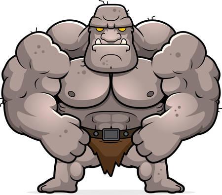A cartoon illustration of an ogre flexing.