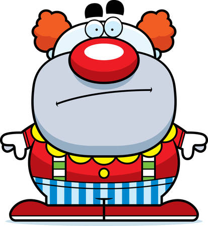 bored: A cartoon illustration of a clown looking bored. Illustration