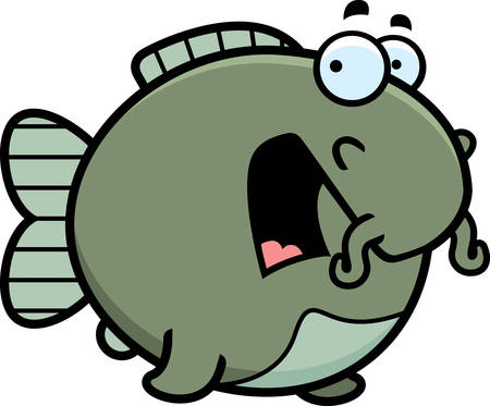 animal screaming: A cartoon illustration of a catfish looking scared. Illustration