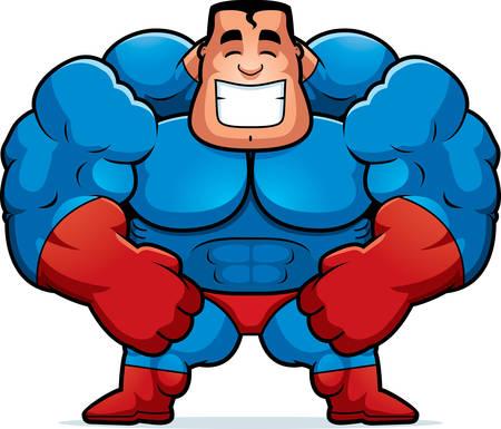 flexing: A cartoon illustration of a superhero flexing.