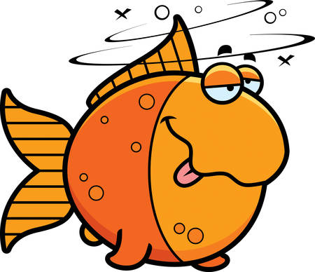 A cartoon illustration of a goldfish looking drunk. Illustration