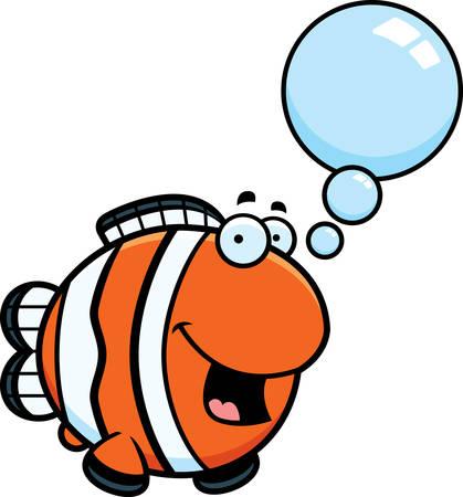 A cartoon illustration of a clownfish talking. Illustration