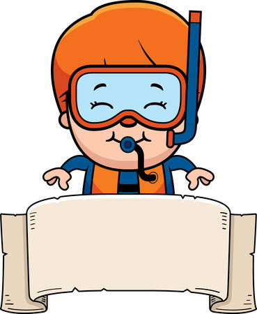 wetsuit: A cartoon illustration of a scuba diver boy with a banner.