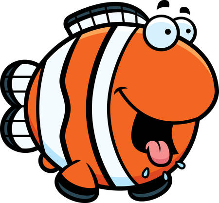 drooling: A cartoon illustration of a clownfish looking hungry.