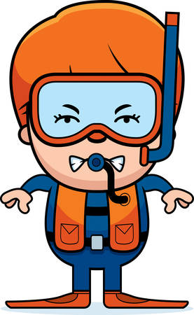 diver: A cartoon illustration of a scuba diver boy looking angry.