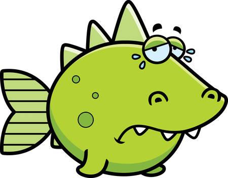 prehistoric fish: A cartoon illustration of a prehistoric fish sad and crying.