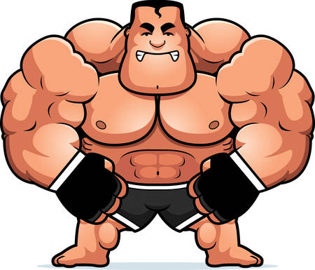 steroids: A cartoon illustration of a mma fighter looking angry.