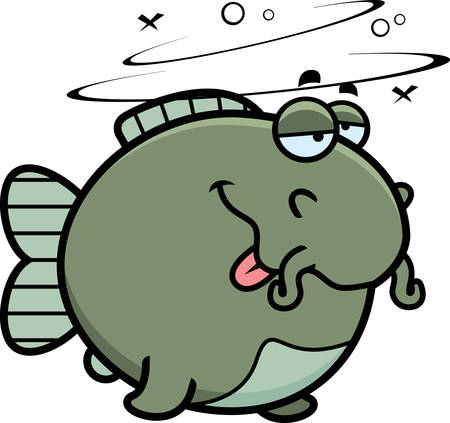 catfish: A cartoon illustration of a catfish looking drunk.