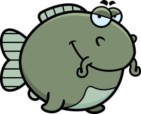 A cartoon illustration of a catfish with a sly expression.