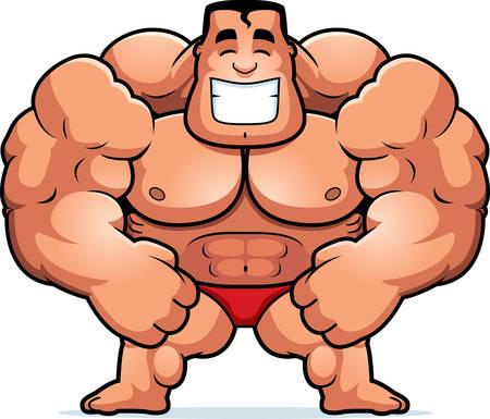 steroids: A cartoon illustration of a bodybuilder flexing. Illustration