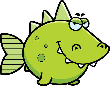 sly: A cartoon illustration of a prehistoric fish with a sly expression. Illustration