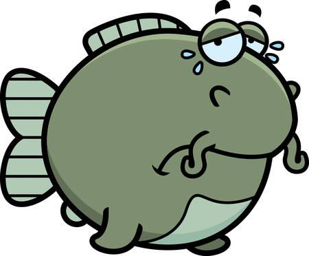 A cartoon illustration of a catfish sad and crying. Ilustração