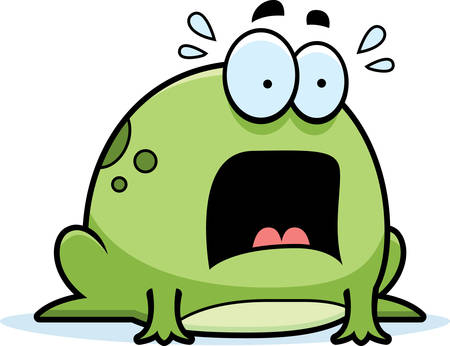 fear: A cartoon illustration of a frog looking scared.
