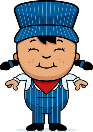 latina: A cartoon illustration of a girl train conductor standing and smiling.