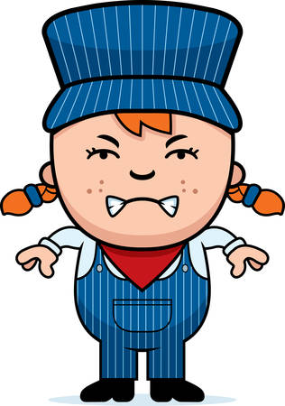 conductor: A cartoon illustration of a girl train conductor looking angry. Illustration