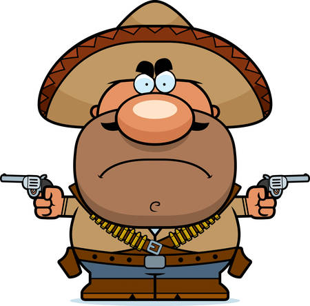 A cartoon illustration of a bandito looking angry. Ilustração