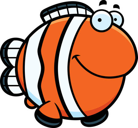clownfish: A cartoon illustration of a clownfish happy and smiling.