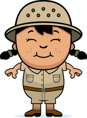 latina: A cartoon illustration of a girl explorer standing and smiling.