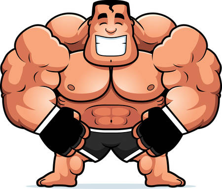 steroids: A cartoon illustration of a mma fighter flexing.