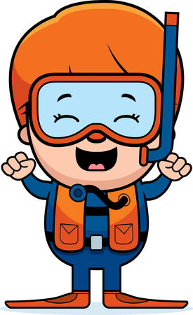 diver: A cartoon illustration of a scuba diver boy looking excited. Illustration