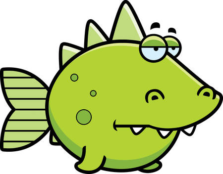 prehistoric fish: A cartoon illustration of a prehistoric fish looking bored.
