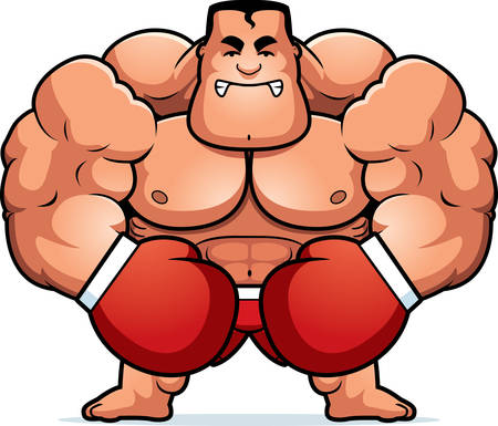 tough guy: A cartoon illustration of a boxer looking angry.