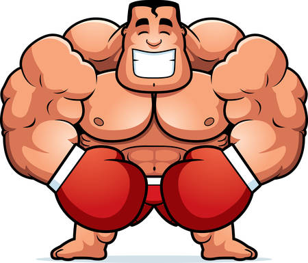 tough man: A cartoon illustration of a boxer flexing. Illustration