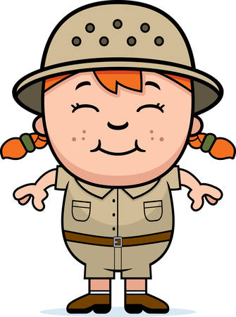 A cartoon illustration of a girl explorer standing and smiling.