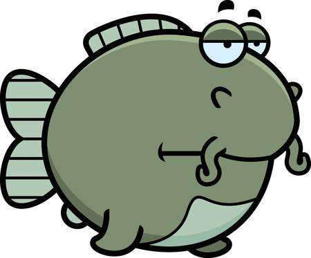 catfish: A cartoon illustration of a catfish looking bored.