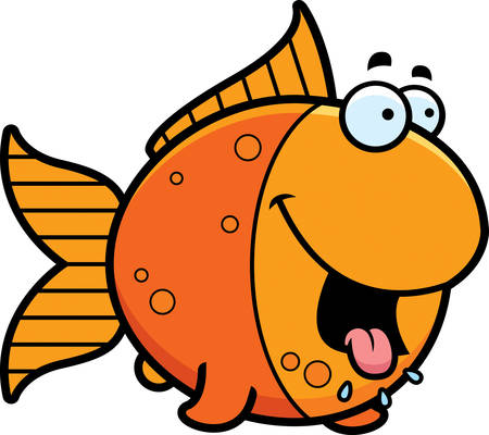 salivating: A cartoon illustration of a goldfish looking hungry.
