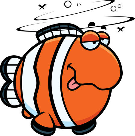 clownfish: A cartoon illustration of a clownfish looking drunk. Illustration