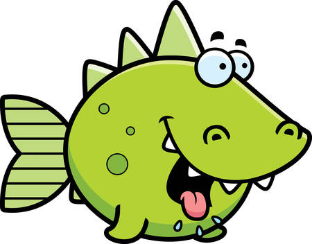 A cartoon illustration of a prehistoric fish looking hungry.