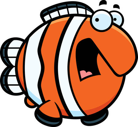 clownfish: A cartoon illustration of a clownfish looking scared.