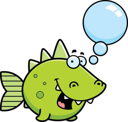 prehistoric fish: A cartoon illustration of a prehistoric fish talking. Illustration