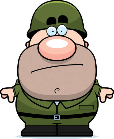 bored: A cartoon illustration of an army soldier looking bored. Illustration