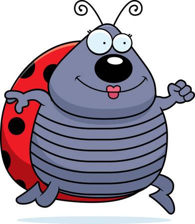 ladybug: A happy cartoon ladybug running and smiling. Illustration