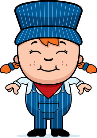 conductor: A cartoon illustration of a girl train conductor standing and smiling.