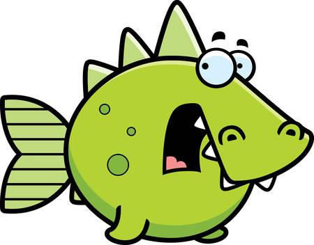 prehistoric fish: A cartoon illustration of a prehistoric fish looking scared.