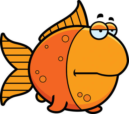 A cartoon illustration of a goldfish looking bored.