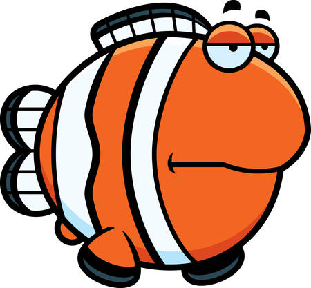 clownfish: A cartoon illustration of a clownfish looking bored.