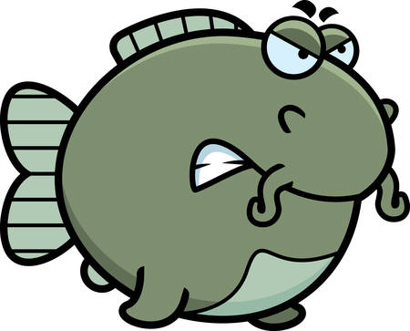 catfish: A cartoon illustration of a catfish with an angry expression.