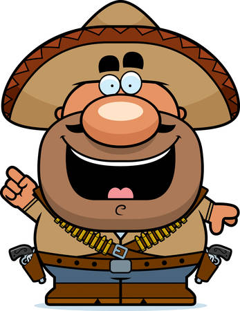 bandits: A cartoon illustration of a bandito with an idea.