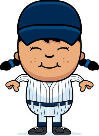 latina: A cartoon illustration of a girl baseball player standing and smiling.