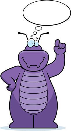 word balloon: A cartoon illustration of a bug thinking.