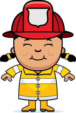 latina: A cartoon illustration of a firefighter girl standing and smiling.