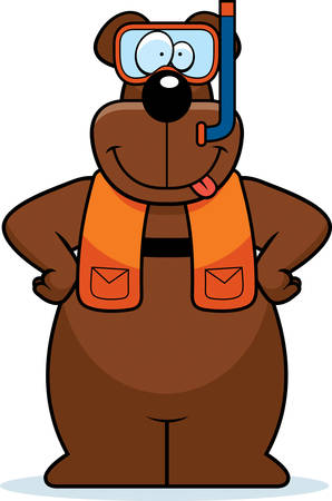 シュノーケ リング用具を着てクマの漫画イラスト。