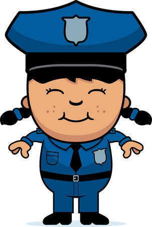 asian cartoon: A cartoon illustration of a police officer girl standing and smiling. Illustration